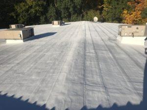 in progress foam cooling roofing system